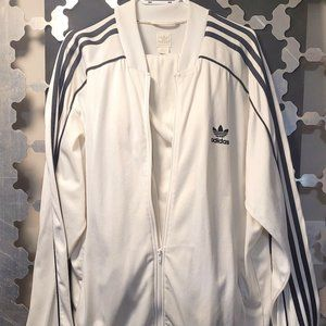 Classic White w. Black 3 stripes Adidas tracksuit